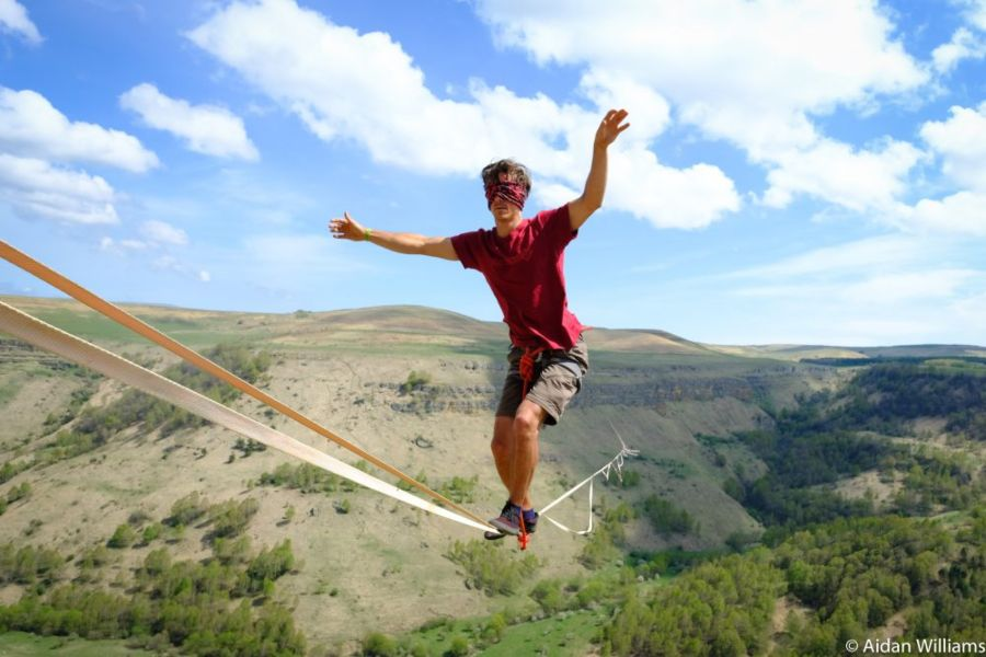 slackline highline friedi kühne blind weltrekord world record