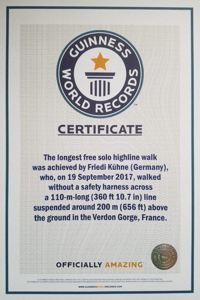 slackline highline friedi kühne free solo guinness world record weltrekord