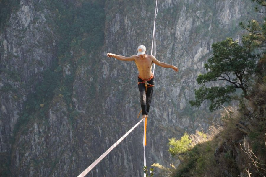 slackline highline friedi kühne china guinness world record