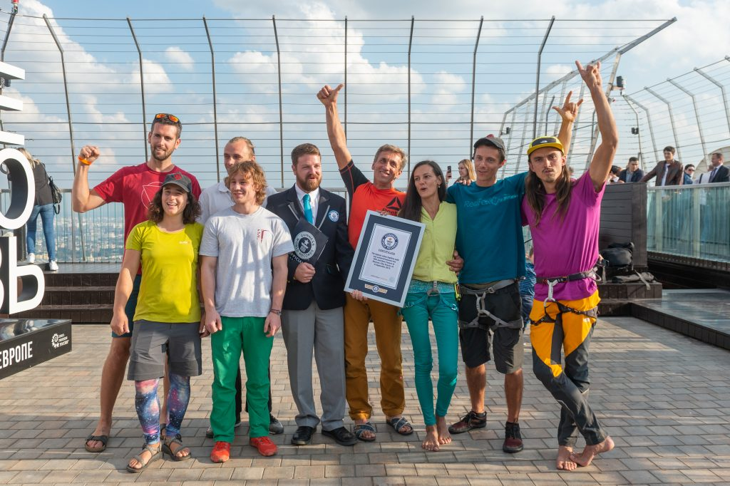 slackline highline friedi kühne moscow moskau urban world record guinness weltrekord slacklinetribe